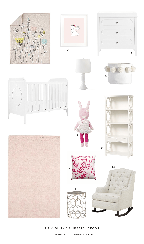 Pink Bunny Nursery Decor Collection Pinele